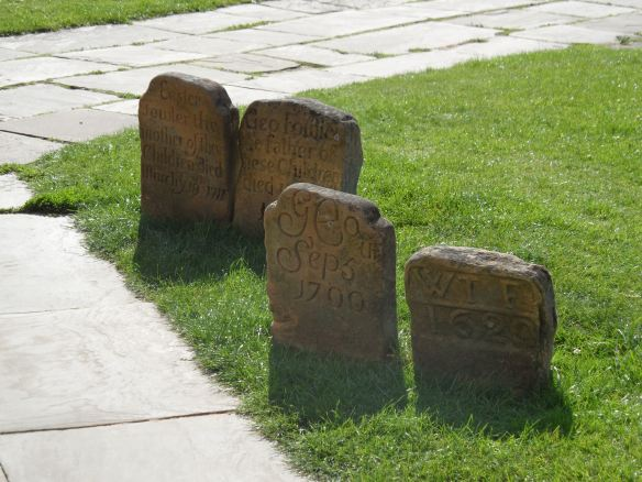 Examples older gravestones at Southwell Minster
