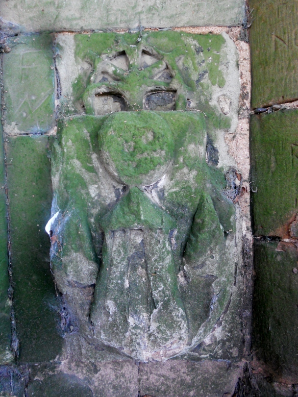 The carved stone at the ruined old church at Shenstone