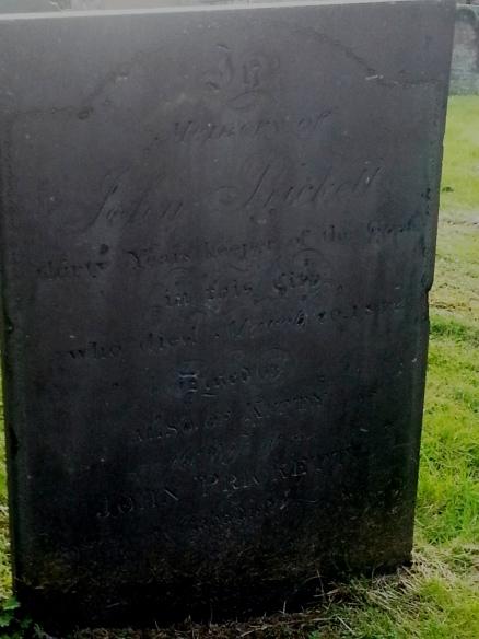 John Prickett's grave at St Chad's, Lichfield