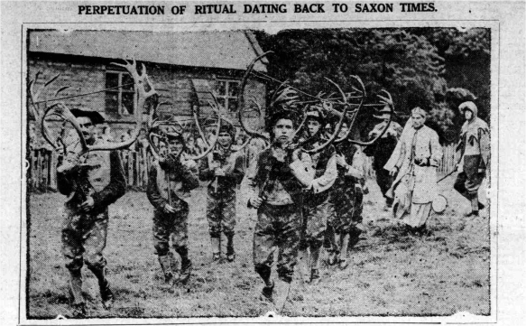 Abbots Bromley Horn Dance 1932. Taken from the 'The Birmingham Mail' via 'The Lichfield Mercury'.