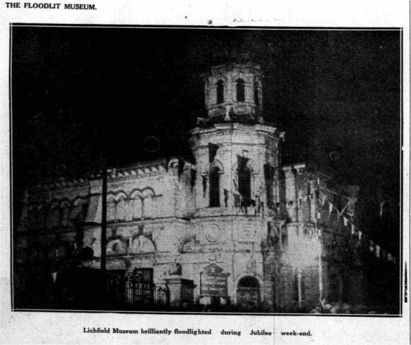 Floodlit Lichfield Museum and Free Library, Jubilee Celebrations 1936. Taken from Lichfield Mercury archive.