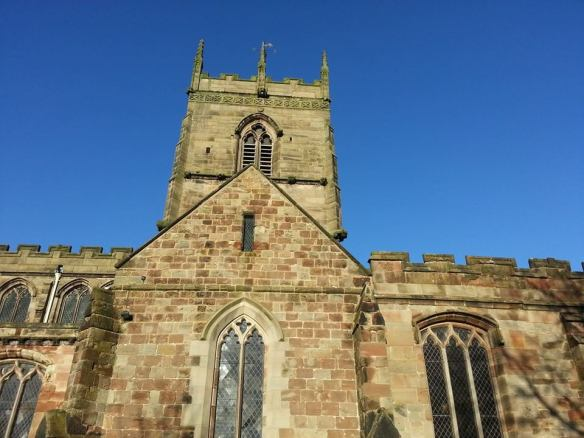 South face of the church tower at Gnosall