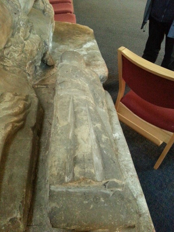 Effigy possibly depicting a heart burial at Gnosall