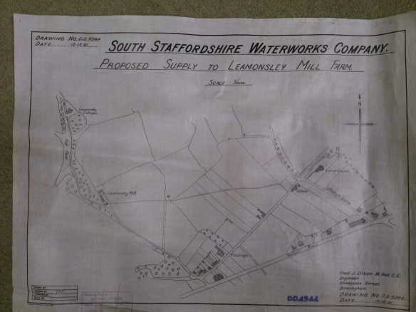 South Staffordshire Waterworks Company map of Leomansley. Thanks to Chris Pattison