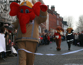 Welephant wins 2011 Lichfield Pancake Race. Image from Lichfield Live
