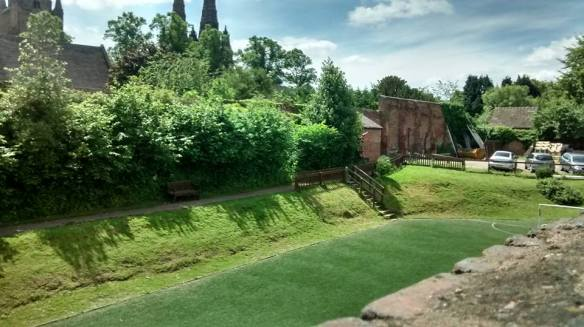 The moat marking the northern boundary of both medieval Lichfield and the Close. Described on Snape's map as a dry ditch or dumble.