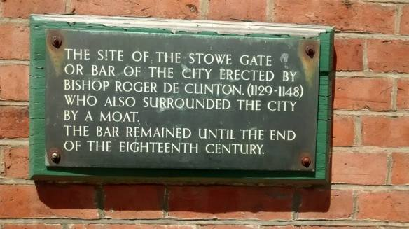 This plaque is located at the junction of Lombard St, Stowe Rd and George Lane