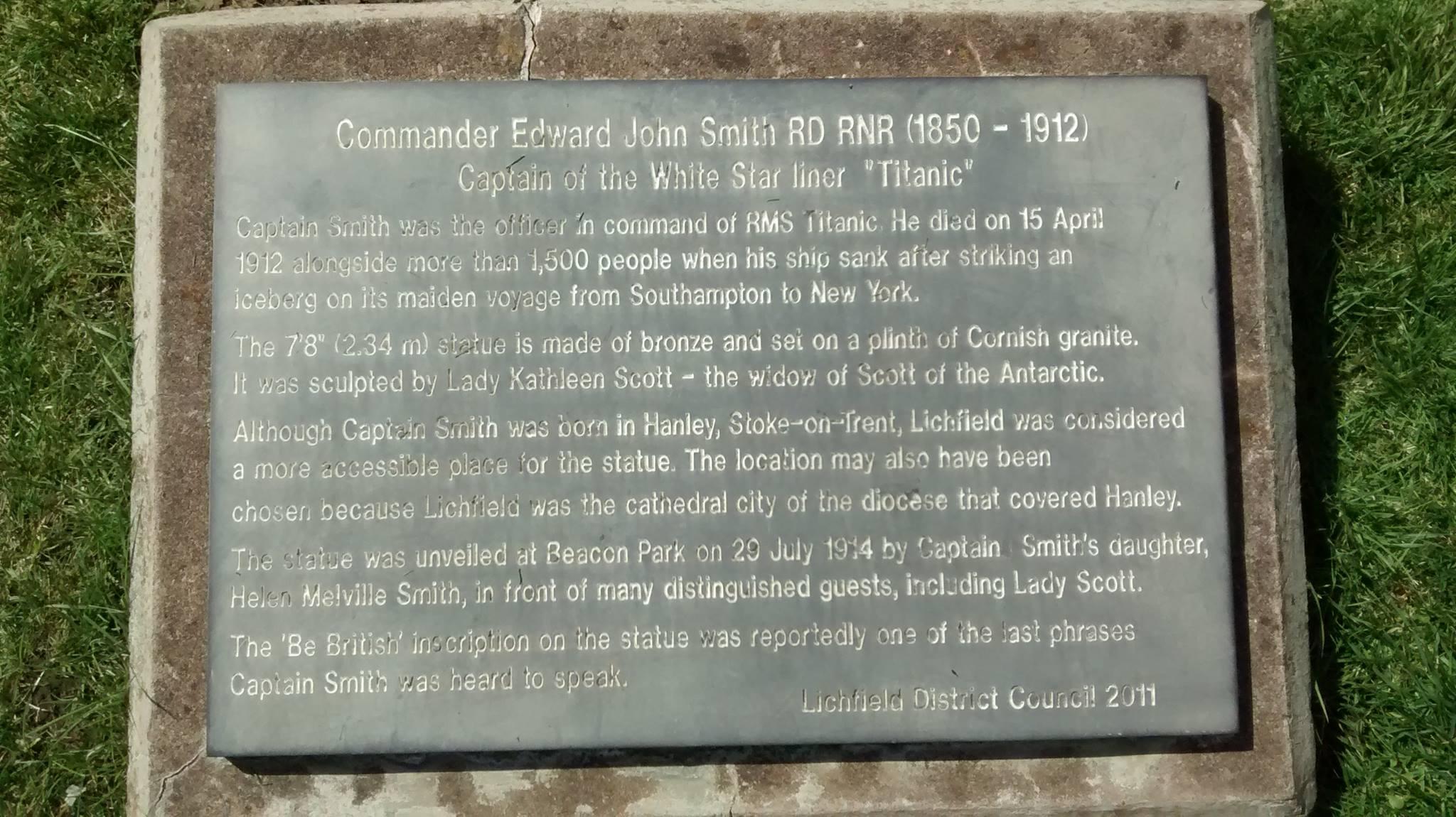 Captain Smith plaque, Beacon Park