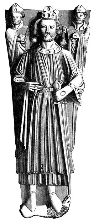 """A drawing of the effigy of King John in Worcester Cathedral from """"HISTORY OF ENGLAND by SAMUEL R. GARDINER"""